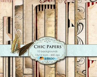 CHIC PAPERS large 12x12 inch Digital collage sheet - papers texture lines striped scrapbooking jpg instant download printable diary - pp121