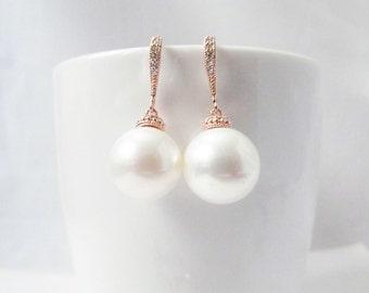 rose gold pearl earrings, large pearl earrings rose gold, big pearl earrings, 12mm 14mm pearl earrings, wedding pearl earrings