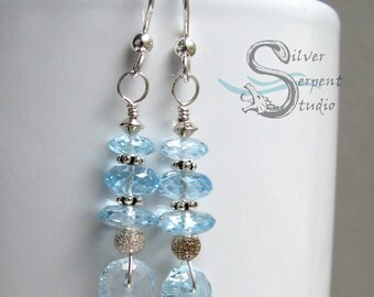 Sky Blue Topaz Earrings - genuine gemstone, long earrings, faceted, sterling silver, wire wrapped, vibrant color