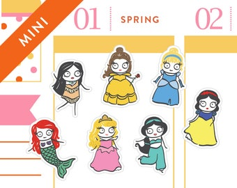 P256 - Princess planner stickers, Disney princess inspired, mermaid stickers, beauty, belle, cinderella inspired, 28 stickers, MINI SIZE