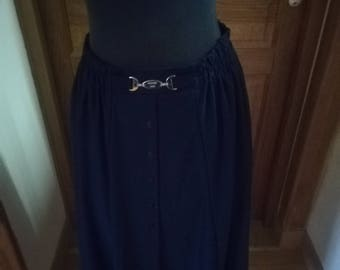 Navy Royal Blue pleated vintage midi skirt buttoned front PARIS COUTURE