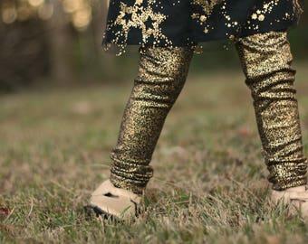 Gold leggings, Holiday leggings, sparkle Leggings, New Years Eve Leggings, Birthday Legging