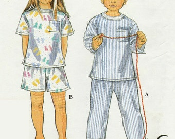 Simplicity 8490 Sewing Pattern, Long or Short Pajamas, Pullover Tops and Elastic Waist Bottoms, Child's, Multi Size 3, 4, 5, 6, 7, 8, Uncut