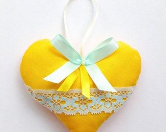 Yellow orange hanging heart / heart decoration / wedding favour