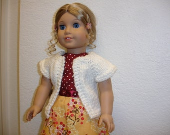 """Am Girl Style 18"""" Doll Gold/Burgundy Red Print Dress w/White Sweater"""