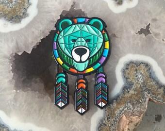Bear Dream Catcher Tribe Festival Hat Pin