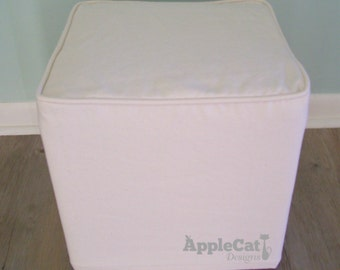 Cube Slipcover, Small Ottoman Cover with Welt Cord, Footstool Slipcover, Cube Cover