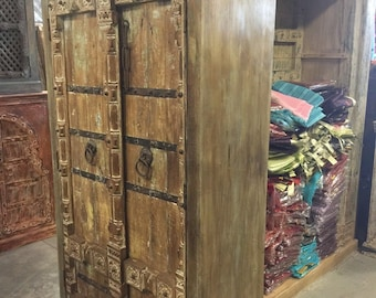 Antique Wardrobe Old Doors Armoire Indian Furniture Iron Strap Storage Cabinet nATURAL WOOD Farmhouse Eclectic Bohemian Decor FREESHIP