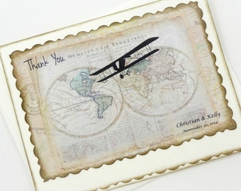 Travel Wedding Thank You Cards, Personalized Thank You Note Cards, World Map Notes, Airplane, Bridal Shower Thank Yous, Set of 20
