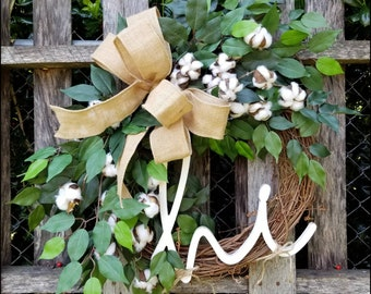 Cotton Wreath for Front Door, Welcome Wreath, 2nd Wedding Anniversary Gift, Farmhouse Decor, Year Round Wreath, Summer Wreath Wedding Wreath