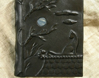 Leather bound handmade journal blank book Cat and the Moon