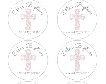 Baptism Favor Stickers, Christening favor stickers, First Communion, Confirmation, personalized baptism, baby girl, pink and gray