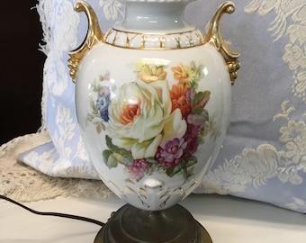 Vintage Porcelain Lamp, Antique Porcelain Lamp, Vintage Floral Lamp - Needs Re-Wiring