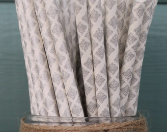 Silver Damask Paper Straw (pack of 25)