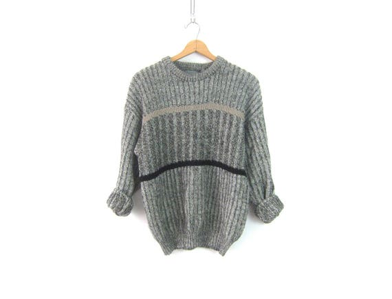 Baggy Sweater 90s Slouchy Boyfriend Pullover Retro 90s Oversized Sweater Gray Ribbed Knit Slacker Grunge Sweater Top Mens size Medium Large