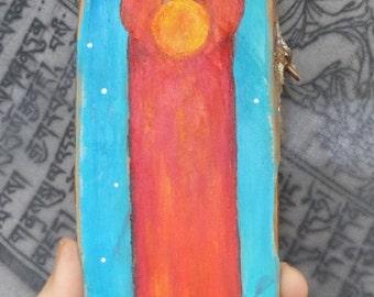"Original Indian Totem Angel ""Big Mother"" - Painting on wood - Acrylic colors - Hand made - Sacred Art - Spiritual Art"