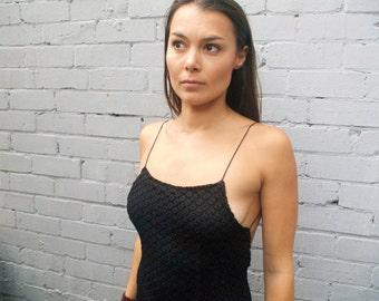 Amazing vintage 1990s vintage black lace maxi backless dress size AU 6-8