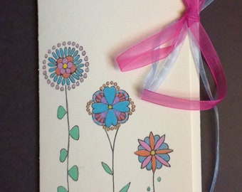 Original drawing gift envelope, flowers