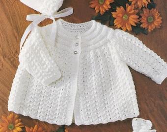 BABY Knitting Pattern Sirdar Snuggly Knitting Pattern Babies Matinee Coat Bonnet & Bootees DK Original Knitting Pattern