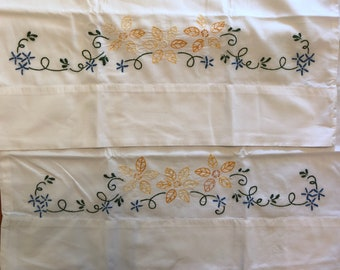 Vintage Embroidered Pillow Cases. Set of 2, queen size