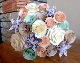Paper Flowers, Mixed Kusudama Bouquet in Muted Tones
