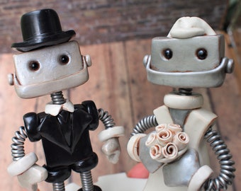 Robot Wedding Cake Topper READY TO SHIP Top Hat Groom Bride in Veil High Jaw Smiles (5 inches)