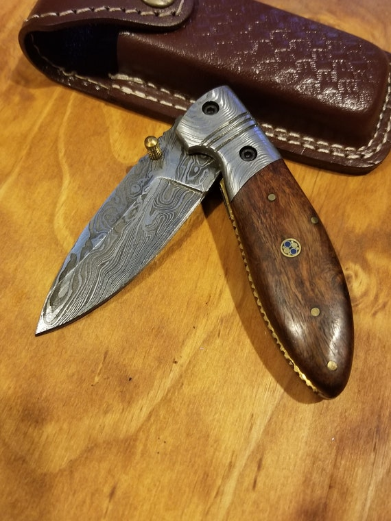 Rose Wood Handle Folding Pocket Knife Damascus Blade Collection With Leather Sheath Outdoors (K153)