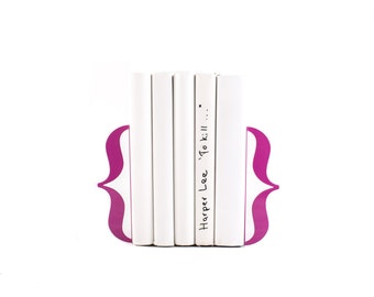 Unique Bookends - Brackets - Curly Braces Purple color // metal book holders for modern home // designer gift // FREE  SHIPPING