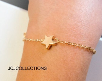 Gold Heart Bracelet Delicate, Gold Filled Bracelet Chain