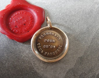Forgive Others Wax Seal Charm - antique wax seal jewelry pendant - bible quote Forgive So That You May Be Forgiven by RQP Studio