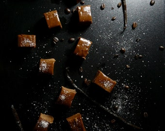 Chocolate Espresso Caramels with Pink Salt and Vanilla Bean