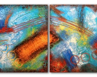 "30""x60"" ORIGINAL Huge Abstract Painting Textured MODERN (2 30x30 Wood Panels) Colorful Fine Art by Maria Farias"