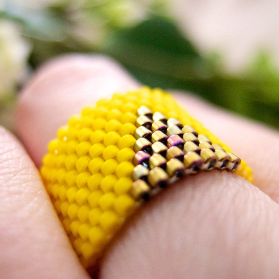 Yellow Ring, Gold Triangle Ring, Neon Yellow Ring, Beaded Ring, Yellow Triangle Ring, Geometric