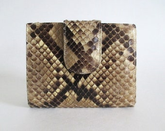 Python Leather Wallet Kiss Clasp  Purse Snakeskin Made in Canada for Holt Renfrew Vintage