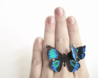 Large Women Ring Botanical Ring Jewelry Butterfly Wing Ring Jewelry Elvish Clothing Costume Cosplay Insect Jewelry Women Spring Ring