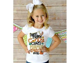 Hashtag Fall Embroidered Shirt, Hayride Shirt, Fall Shirt, Kids Fall Shirt, Candy Corn Shirt, Boy Fall Shirt, Girl Fall Shirt, Pumpkin Patch