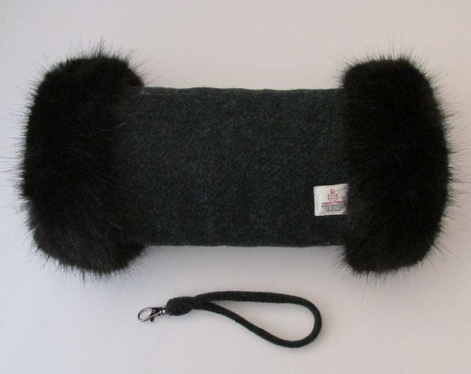 Harris Tweed Diesel Green Hand Muff with Black Faux Fur Trim