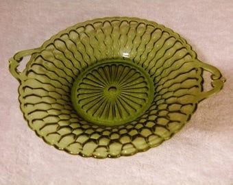 "Indiana Glass Green Honeycomb Design 7.5"" Handled Bowl"