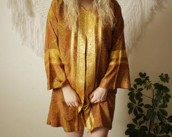 Vintage 1960s golden Paisley tunic dress hippy Boho festival embroidered