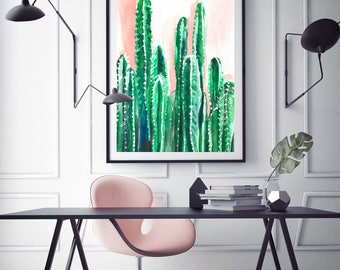 Cactus Watercolor Print Art Artwork Wall Art Plants Pink Green Landscape Abstract Greenery Painting Poster Pretty