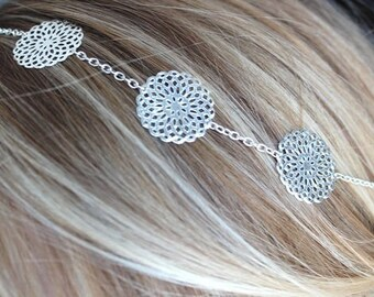 Silver pinwheel headband headband