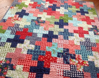 Baby Crib Quilt in Red, pink, Aqua, green and Navy blue Gooseberry fabrics plus