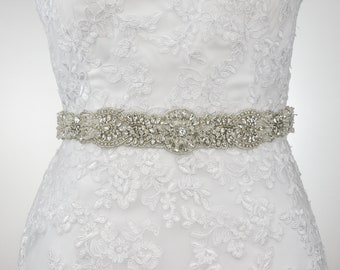 Bridal Belt, Wedding Belt, Sash Belt, Crystal Sash Belt, Wedding Sash Belt, Rhinestone Belt, Clear Crystal Belt, Beaded Sash Belt B183.1
