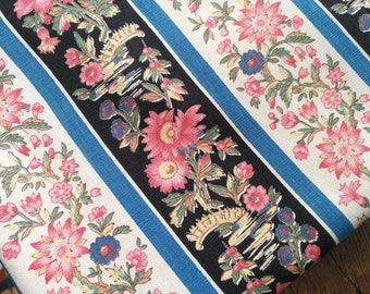 French Fabric, Vintage Boussac Fabric, French Cotton Fabric, Blue Striped Print, Florals on Black, Vintage French Fabric, Cotton Fabric