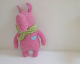 Handmade Rhino stuffed small animal OOAK pink Rhino doll eco toy upcycled soft wool sweater soft plush Rhino bubynoa Elifants&rhinos