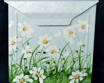 Hand Painted Mailbox with White Daisies on a blue background - Designer Wall Mount  Mailbox -Outdoor decor