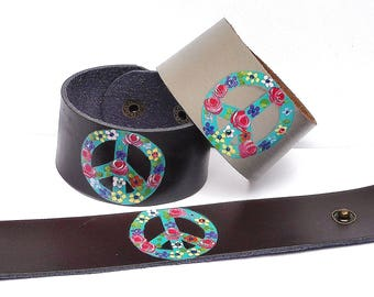 Leather Peace Sign Cuff Bracelet Colorful Flowers Boho Bohemian Jewelry FREE SHIPPING