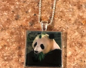 Panda Bear Necklace, Panda Pendant on sterling Ball Chain