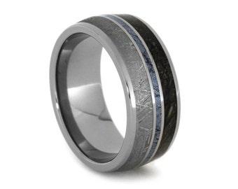 Mokume Gane Cobalt Ring, Dinosaur Bone Wedding Band With Meteorite in Titanium, Mokume Ring