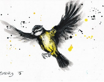 8x12 Ink painting on canvas - flying titmouse - yellow bird painting